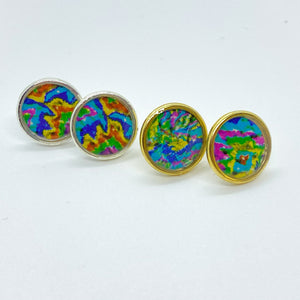 Bright Color Tie Dyed Stud Earrings