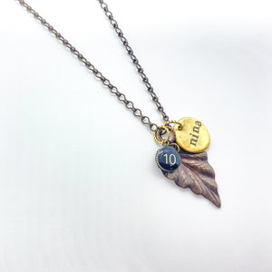 Leaf & Number Nina Necklace - Personalize Quote & Number Charm