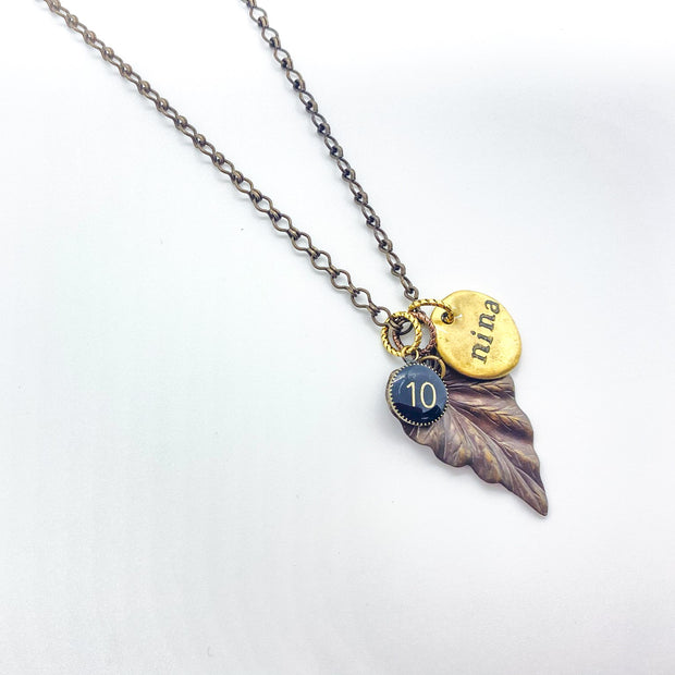 Leaf & Number Nina Necklace - Personalize Quote & Number Charm 1