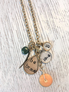 be brave necklace with date and initial