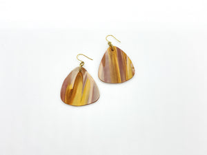 Fall Colored Marble Fat Teardrop Earrings