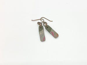 Army Green Swirl Small Bar Earrings
