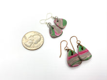 Green & Pink Triangle Small Dangle Earrings