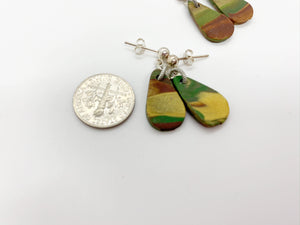 Small Teardrop Camo Post Earrings