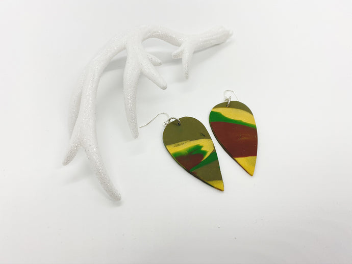 Camouflaged Teardrop Earrings