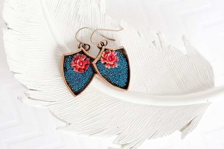 teal and coral flower earrings  brass