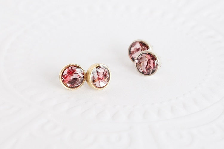 Light Pink Glitter Stud Earrings