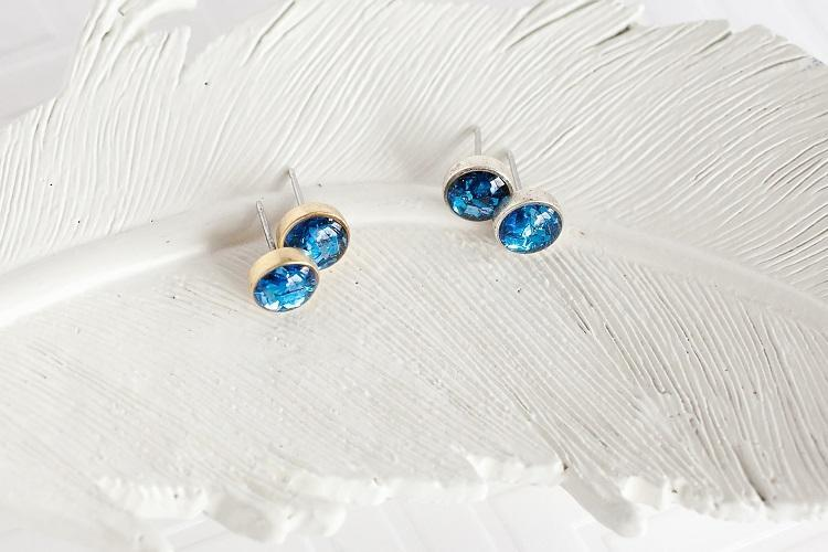Royal Blue Glitter Stud Earrings
