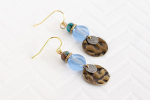 Blue Hammered Metal Earrings