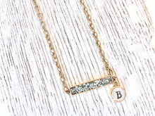bar druzy necklace with initial charm