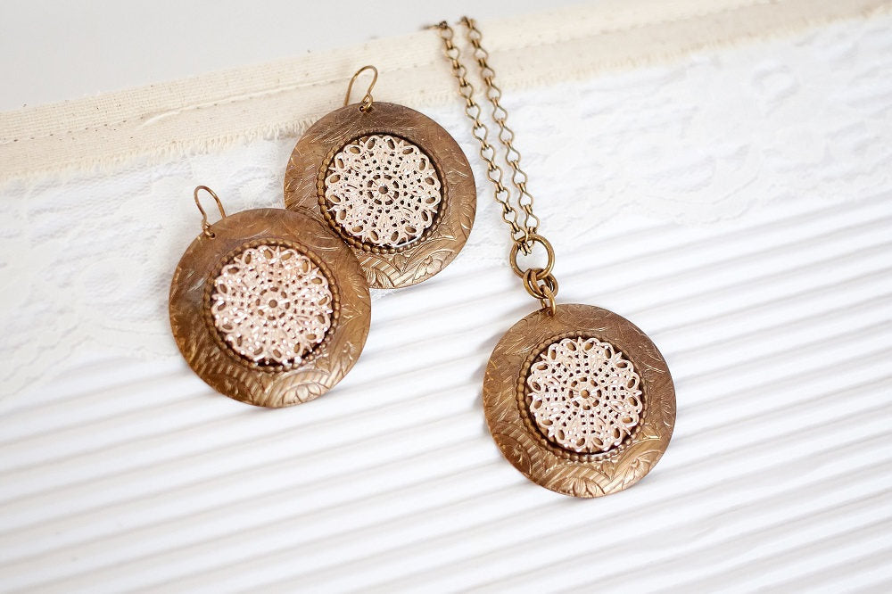 Rose Gold Necklace Set, Rose Gold Necklace and Earring Set, Lace Jewelry Gift, Gift for Mom from Son, Statement Gift Wife, Boho Jewelry Set