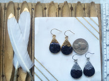 Silver or Gold Navy Blue 2 tone Glitter Teardrop Earrings