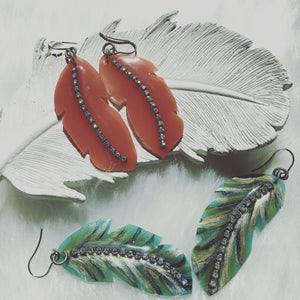 Resin Contour Feather Earrings