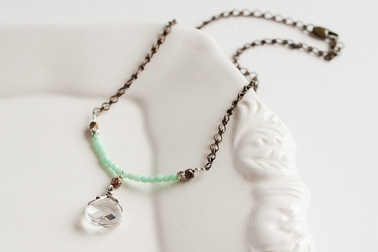 Mint Green Crystal Adjustable Necklace