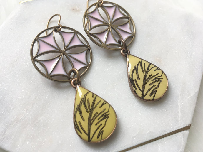 Pink and Yellow Stained Glass Feather Earrings