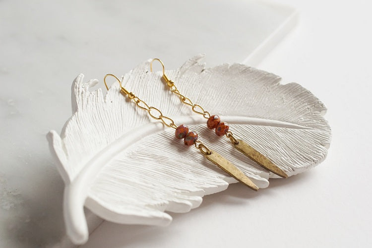Long Dangle Tooth Earrings