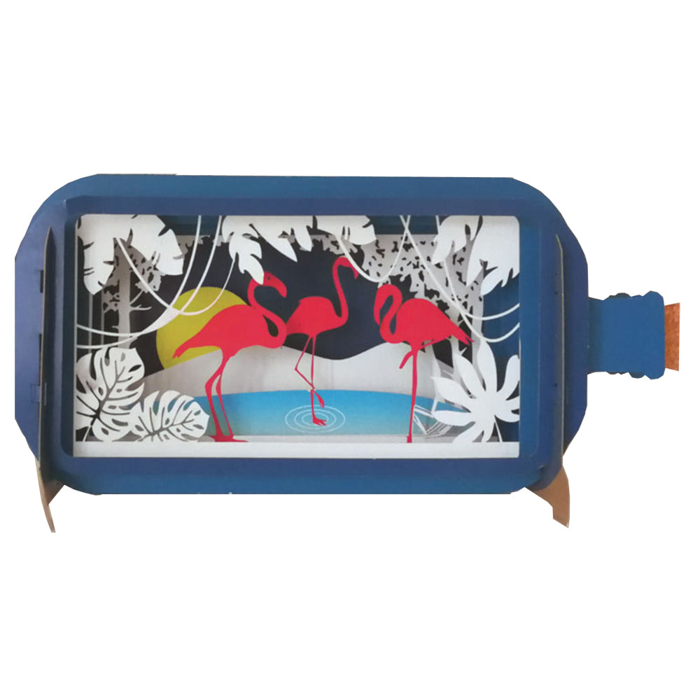 Pop Up Bottle with Flamingoes card