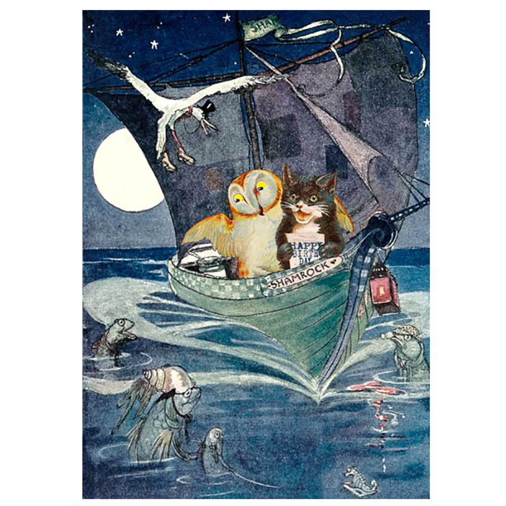 Owl and Pussy Cat At Sea birthday card
