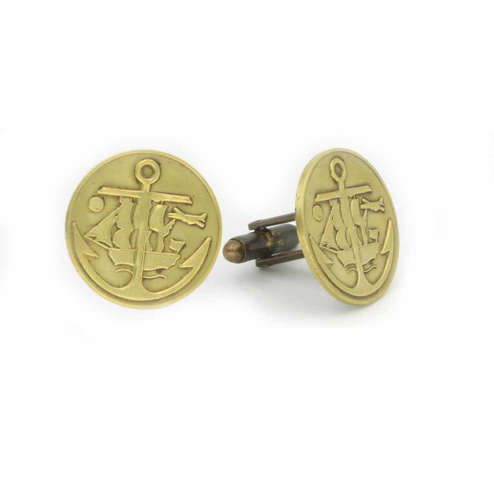 Vintage Brass Ship and Anchor Cufflinks