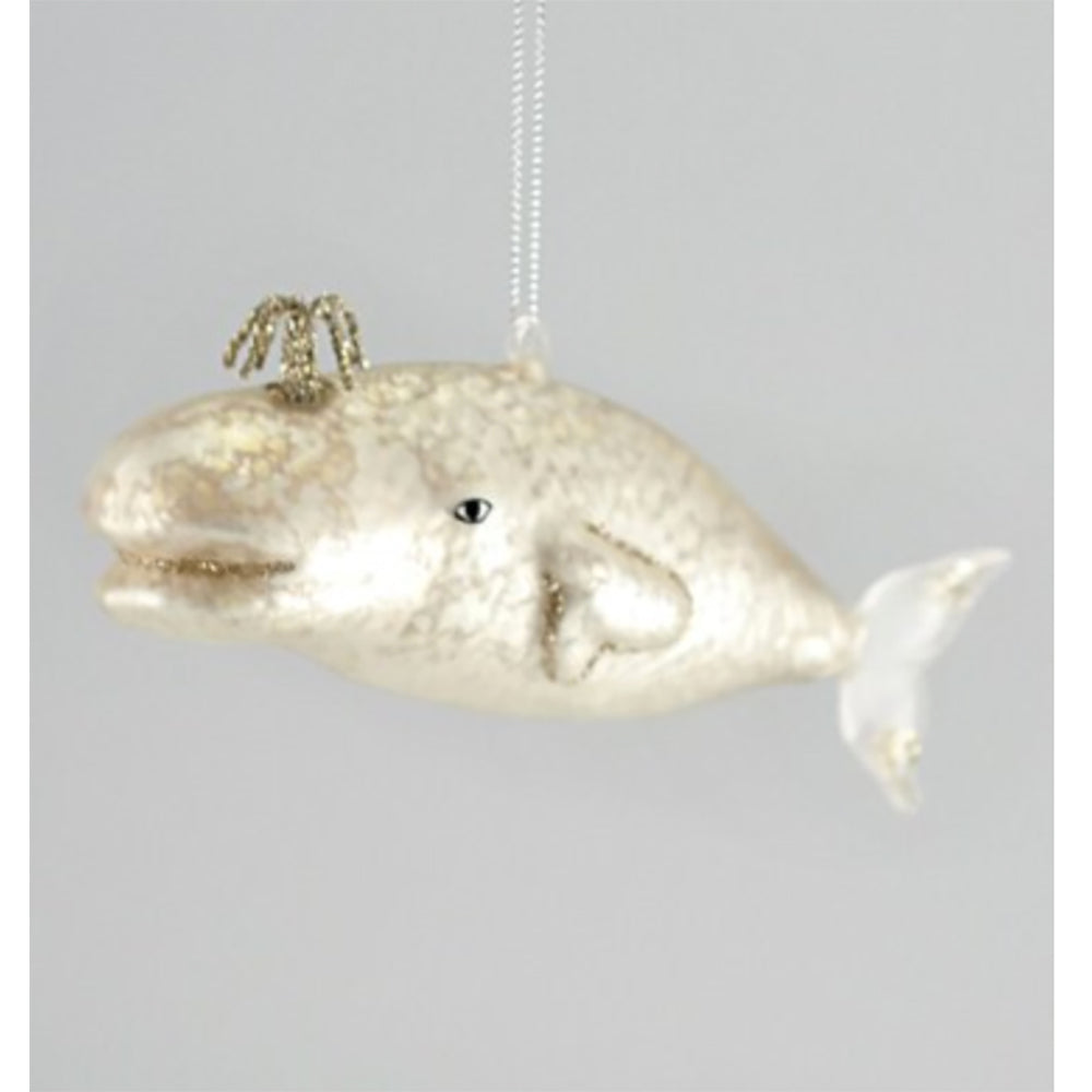 Victorian Glass Whale Ornament Pearl