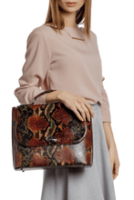 Load image into Gallery viewer, Snake Pattern Top Handle Shoulder Bag — Olive/Rust