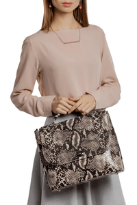 Snake Pattern Top Handle Shoulder Bag — Black/White