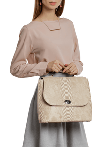 Snake Pattern Top Handle Shoulder Bag — Ivory
