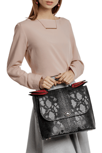 Snake Pattern Top Handle Shoulder Bag - Charcoal