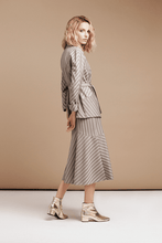 Load image into Gallery viewer, Striped Wrap Jacket Skirt Suit