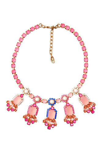 Pink Stone Jeweled Necklace
