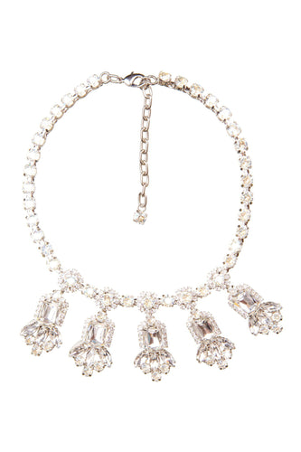 White Crystal Jeweled Necklace