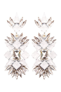 White Crystal Chandelier Clip-on Earrings