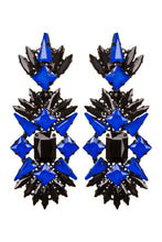 Load image into Gallery viewer, Black Crystal Chandelier Clip-on Earrings
