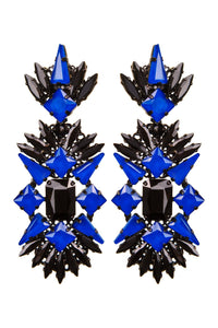 Black Crystal Chandelier Clip-on Earrings