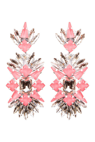 Crystal Stone Chandelier Clip-on Earrings