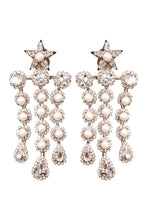 Load image into Gallery viewer, Crystal Pearl Star Clip-on Earrings