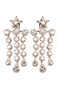 Crystal Pearl Star Clip-on Earrings