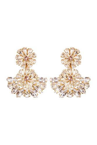Crystal Fan Clip-on Earrings