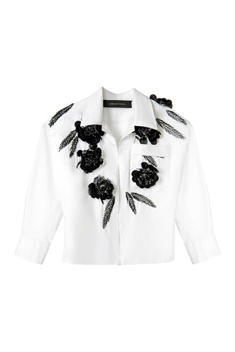 White Flower Applique Shirt