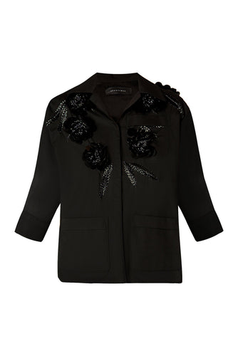 Black Flower Applique Shirt