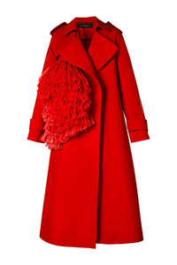 Raffia Pom Pom Trenchcoat - Red