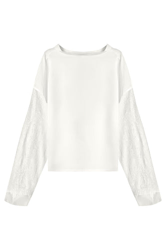 Chiffon Sleeve Boatneck Top