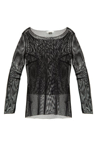 Sheer Mesh Blouse - Black