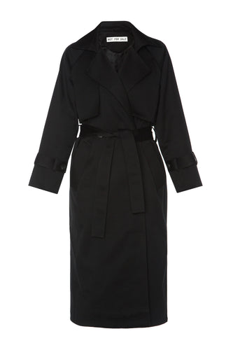 Double Breasted Trench Coat - Black