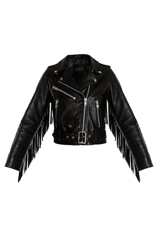 Fringed Motorcycle Jacket - Black