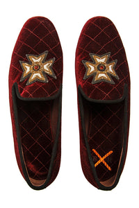Quilted Velvet Cross Loafers