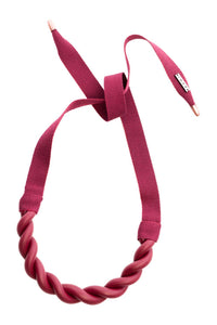 Plait Wine Ribbon Necklace