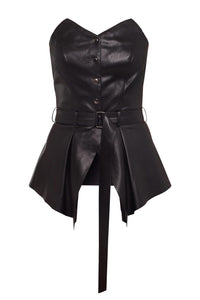Eco Leather Bustier - Black