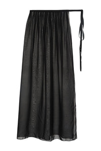 Sheer Silk Chiffon Tie Skirt