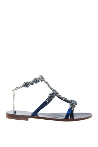 Sapphire Crystal T Strap Ankle Sandals